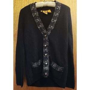 Tory Burch Sweaters - Tory Burch wool cardigan with boucle trim Large